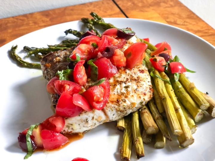 Sicilian Halibut with Tomato Salata and Asparagus